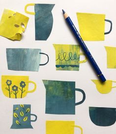 Very pleased to have carved out a little time for a cheeky new personal project. Watch this space, fun new things coming soon. Paper Collage Art, Collage Artists, Cut Paper Illustration, Collage Design, Marble Art, Doodle Patterns, Tea Art, Flower Doodles, Art Journal Inspiration
