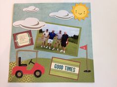 Golf scrapbook page using  Cricut and Paper Doll Dress Up, Mickey and Friends and Create a Critter