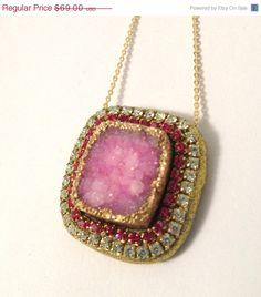 FALL SALE Pink Druzy and swarovski crystal by YaronaJewelryDesign, $60.03