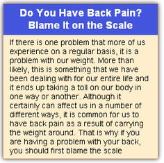 Do You Have Back Pain? Blame It on the Scale