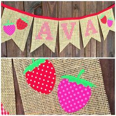 Red gingham letters on burlap with pink and red strawberries for a country first birthday party decoration or photo prop