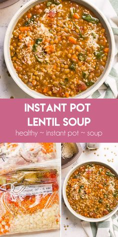 Best Instant Pot Lentil Soup with green or brown lentils canned tomatoes and spinach. Only 5 mins of prep and no sauteing. Best Instant Pot Lentil Soup with green or brown lentils canned tomatoes and spinach. Only 5 mins of prep and no sauteing. Lentil Soup Recipes, Easy Soup Recipes, Cooking Recipes, Healthy Recipes, Easy Lentil Soup, Brown Lentil Soup, Lentil Vegetable Soup, Vegan Lentil Soup, Sausage And Kale Soup