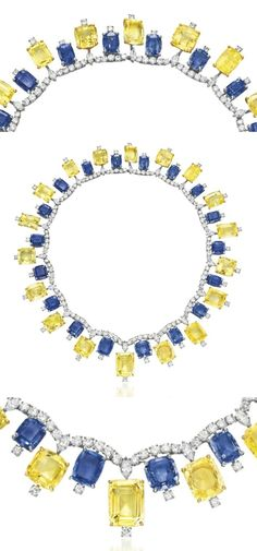 A blue and yellow sapphire necklace by Cartier, with diamonds. Retro, circa 1957.