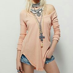 SALE! Free People Ventura Themal NWT SZ L . Faded rose color. Oversized, hi lo waffle thermal tunic. Great to layer over Free People embellished cuff thermals, or alone. Free People Tops