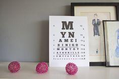 "Eye Chart Printable (""Princess Bride"" quote -- ""My name is Inigo Montoya you killed my father prepare to die"")"