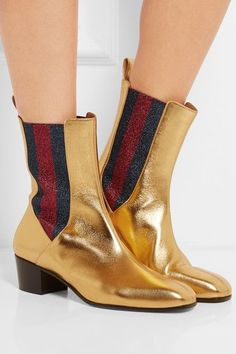 Gucci - Metallic Leather And Textured-lamé Chelsea Boots - Gold - IT40.5