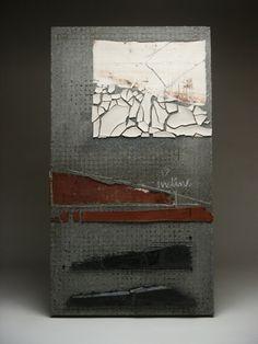"Margaret Boozer: Inclined (2005)  Concrete, black stoneware, Mt. Rainier red earthenware, porcelain, hardware cloth, chalk, nails.  17"" x 30"" x 2"""
