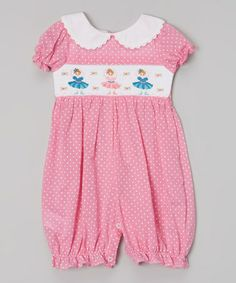 Love this Pink Polka Dot Ballerina Smocked Romper - Infant & Toddler by Lil Cactus on #zulily! #zulilyfinds