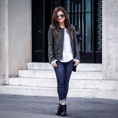The classic leather jacket blog post is on [http://ift.tt/1LOuxWi]  #parisfashion #parisian #parisjetaime