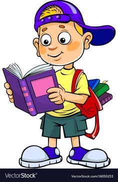 Boy reading vector image on VectorStock School Cartoon, Cartoon Boy, Cartoon People, Drawing For Kids, Art For Kids, Brain Vector, Photo Frame Design, Kids Room Murals, School Murals