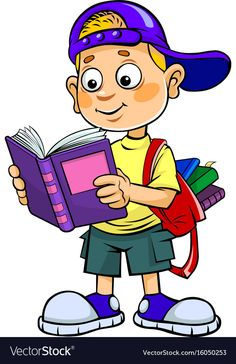 Boy reading vector image on VectorStock School Cartoon, Cartoon Boy, Cartoon People, Drawing For Kids, Art For Kids, Brain Vector, Photo Frame Design, Kids Room Murals, School Frame
