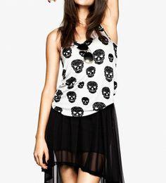 Punk Style Skull Print White Vest @ MayKool.com