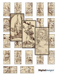 1x2 Domino Antique Tarot Card by Durer Digital Collage Sheet for jewelry, tags, cards, scrapbook and mixed media projects, Instant Download