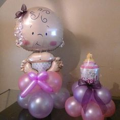 Cute balloon decorations for a baby shower! Baby Shower Balloon Decorations, Baby Balloon, Baby Shower Balloons, Baby Shower Centerpieces, Birthday Balloons, Baby Shower Themes, Baby Shower Gifts, Shower Bebe, Girl Shower