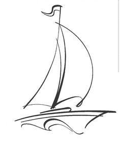 Doodle Drawings, Easy Drawings, Doodle Art, Pencil Drawings, Segel Tattoo, Sailboat Drawing, Sailboat Art, Sailing Tattoo, Silhouette Art