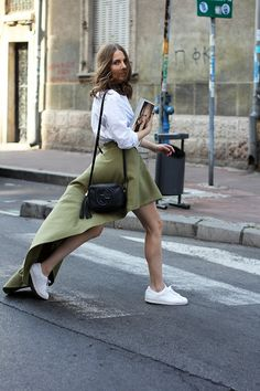 Vanja Milicevic of 'Fashion and Style' Blog // Asymmetric olive green skirt