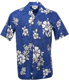 White Hibiscus Mens Hawaiian Aloha Shirt in Blue, Mens Hawaiian Shirts Clothing, 410-3156_Blue - Paradise Clothing Company