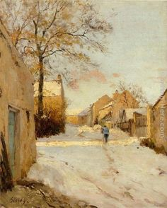 sisley paintings images | Alfred Sisley A Village Street in Winter painting | framed paintings ..