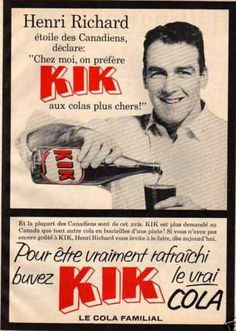 Kik cola Montreal Canadiens, Vintage Advertisements, Vintage Ads, Canadian Hockey Players, Slogan, Soda Brands, Hockey Girls, Canada, Childhood
