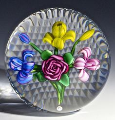 """Ray Banford paperweight - Cabbage Rose w/Colorful Iris's 'n Buds, waffle cut base, 1978, 3""""w x 2 1/3""""t, 16.6 oz. - #0695"""