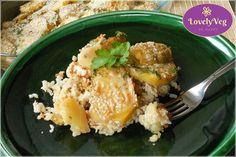 vegán rakott krumpli bulgurral #bulgur #recept #magyarul #vegán #mentes #laktózmentes #tojásmentes #tejmentes Potato Salad, Grains, Paleo, Rice, Potatoes, Vegetarian, Vegan, Ethnic Recipes, Foods