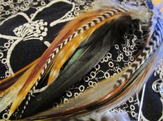 Earth tone Feather ear wrap feather hair extension.,.. on sale..