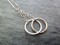 Sterling Silver and 9ct Gold Interlaced Commitment Rings Pendant by TripleMoonStar on Etsy, £40.00