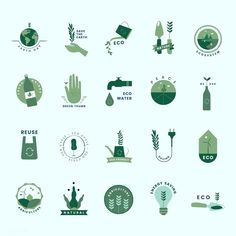 Organic and Go Green icons. Creative Logo, Photomontage, Go Green Posters, Logo Inspiration, Planet Icon, Green Logo, Identity, Map Design, Free Illustrations
