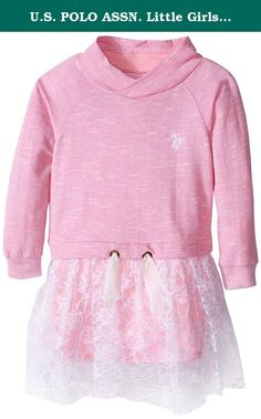 U.S. POLO ASSN. Little Girls' French Terry Mock Neck and Neon Lace Dress, Prism Pink, 3T. French terry and neon lace dress.