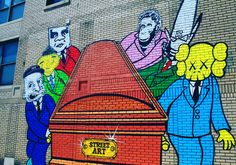 Street Art R.I.P. by Obey, Twist, Futura 2000, Kaws, Bansky & Os Gemeos - Mural by Detroit artist Sever - #poppingupdoc  #popsurrealism  #pop  #popart #streetart #Graffiti #artederua #graffiti #art #artwork #contemporaryart #modernart #realcreativeart #watercolor #urbanart #cores #colores #colors #sprayart #intervention #urbanintervention #graffitiwall #kunst #photooftheday #street #graffitiart #sever Graffiti Artwork, Graffiti Wall, Modern Art, Contemporary Art, Urban Intervention, Bansky, Pop Surrealism, Urban Art, Creative Art