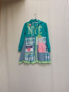 RESERVED-Upcycled Colorful Patchwork Hoodie , Appliqué Hearts and Tattered Roses , size Medium