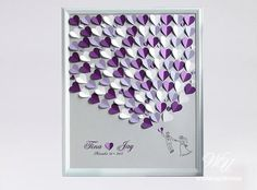 Wedding Guest Book Alternative on Silver background. Personalized with your Names and wedding date, offers a unique way of expressing your love on your special day. White, Lavender and Purple Wedding Tree. Silver, Purple, White and lavenders hearts. ------------- TO ORDER