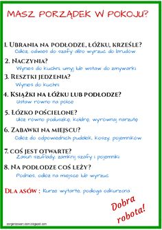 Zorganizowany Dom: Jak nauczyć dziecko sprzątania swojego pokoju - lista kontrolna do wydrukowania School Organisation, Home Organization, Life Motivation, Study Tips, Better Life, Kids And Parenting, Good To Know, Fun Facts, Life Hacks