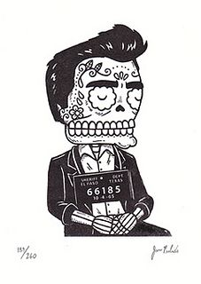 Johnny Cash Calavera Mugshot Gocco Print by misnopalesart, via Flickr