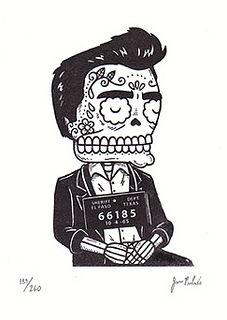 Johnny Cash Calavera Mugshot Gocco Print by misnopalesart, via Flickr