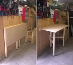 Wooden foldable work bench I made in my shed #wood #DIY #shed #workbench #foldable #smallspace