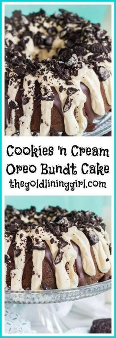 This Cookies 'n Cream Oreo Bundt Cake recipe features a milk chocolate bundt cake stuffed with Oreo cookies, and topped with chocolate ganache and cookies 'n cream pudding frosting!