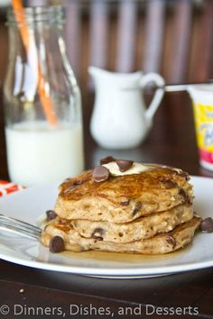 Oatmeal Chocolate Chip Pancakes from @Julie Hanley, Dishes, and Desserts