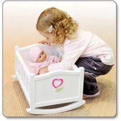 Corolle Mon Premier Small Doll Cradle, white wooden
