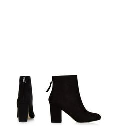 Black Suedette Pointed Block Heel Ankle Boots  | New Look