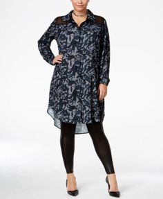 Standards and Practices Trendy Plus Size Solenn Shirtdress | macys.com