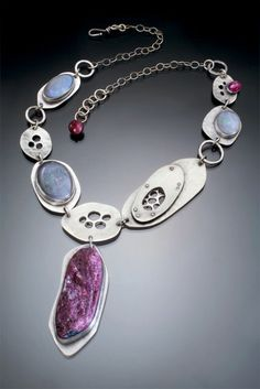 Sterling Silver, Ruby and Gray Opal necklace by Leslie Zemenek