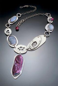 Sterling Silver, Ruby and Gray Opal necklace by Leslie Zemenek