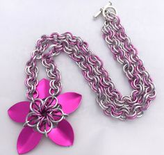 Bright Pink Anodised Aluminium Scale Flower Pendant Necklace