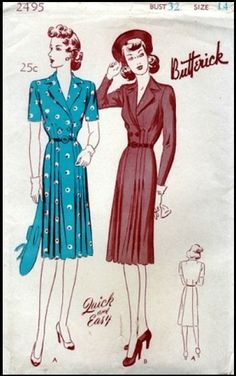 Butterick #2495 - 1943 Ladies 'Essential' Dress with Surplice Bodice, Double Breasted Front And Notched Revers Collar - Sewing Pattern