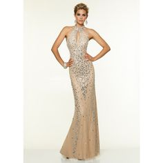 2015 Nude Halter Neck Keyhole Back Beaded Prom Dress via Polyvore featuring dresses, long maxi skirts, long white dress, long white maxi skirt, white halter dress and halter prom dresses