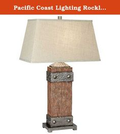 Pacific Coast Lighting Rockledge Table Lamp. Resin construction with hammered metal accents. Rectangular linen fabric shade in beige. Requires one 150-watt medium base bulb. Shade dimensions: 16L x 20W x 11.5H in.. Overall dimensions: 20W x 33H in.