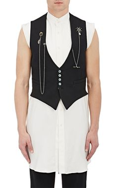 Alexander McQueen Embellished Tuxedo Waistcoat $1585. Crafted in Italy of black wool canvas and tonal silky twill, Alexander McQueen's tuxedo waistcoat is embellished with draped metal chains and jewel-accented charms.