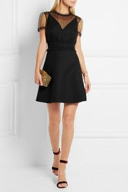 ValentinoTulle-panelled wool and silk-blend crepe mini dress