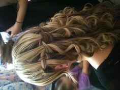 Waterfall braid highlighted hair